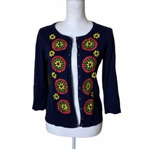 Tabitha Anthropologie Navy Embroidered Cardigan